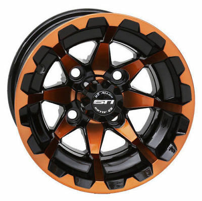 "Set 0F 4 10"" Sti Hd6 Orange/black Golf Cart Wheels 10Hd604-0Rn"