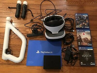 Sony PlayStation 4 VR HUGE Bundle w Camera,Move Controllers,Aim Controller,3 Gam