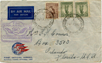 Australia Canada USA airmail. ANA / BCPA first flight cover 1946