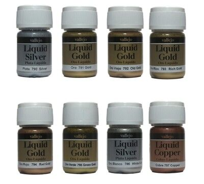 Vallejo Liquid Metals Gold Silver Copper Model Paint Choose any 2 x 35ml Bottle