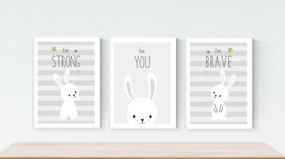 3 Cute Prints Kawaii Bunny Rabbit Nursery Wall Art Be Strong Decor Pictures