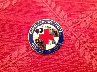 Vintage American Red Cross Chapter Pin From Elkhart County Indiana  Pre-owned