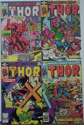 """1980-1. FOUR x """"The MIGHTY THOR"""" Marvel comics Vol.1 #'s 301 - 304. Fine."""