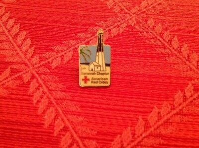 Vintage American Red Cross Chapter Pin From Savannah Georgia Pre-owned