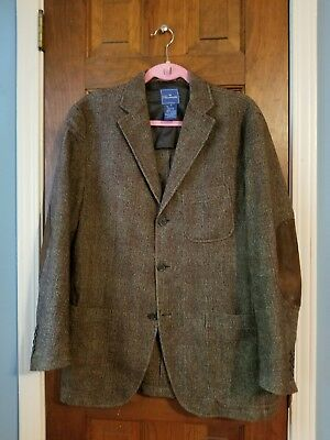 Facconable Brown Tweed Blazer Leather Elbow Pads S Small