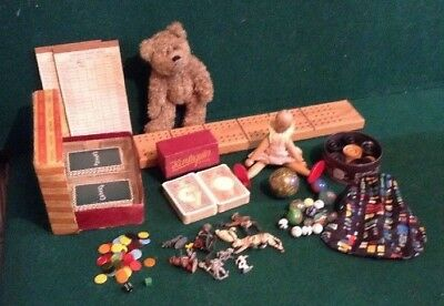 Job Lot Vintage Antique Collectables Games teddy doll