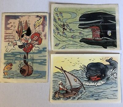 3 Vintage 1939/40 PINOCCHIO DeBeukelaer Trading Cards with Monstro, Geppetto