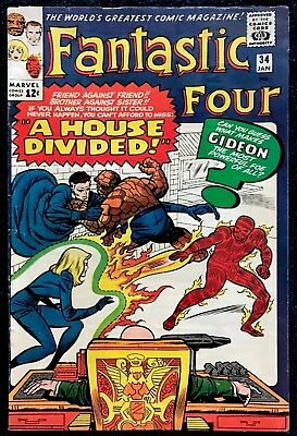 Fantastic Four #34 VG+ Silver Age! All Listings Start @ 0.99 Cents!
