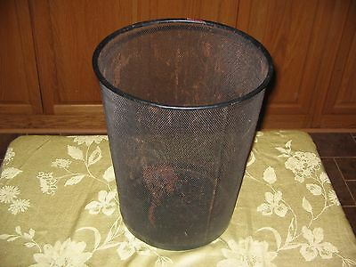 "Vintage 14 3/4"" Industrial Black Metal Wire Mesh Waste Basket-Office/plant Style"