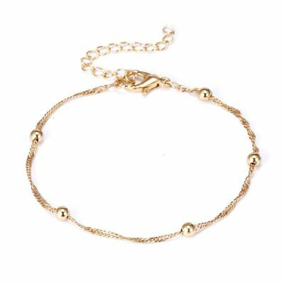 Fashion Plain Women Gold Beads Bracelet Bangle Adjustable Chain Charm Jewellery