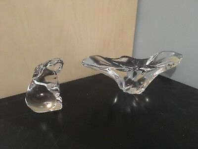 """Baccarat Crystal Long Free Form Shallow Candy Dish Bowl 8 1/4"""" and Rabbit"""