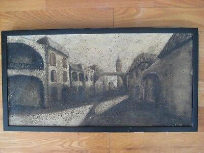 Antique Vintage Modernist European Spanish ? Cityscape Oil Painting Signed Old