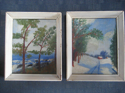Antique American Impressionist Landscape Oil Painting Pair Vintage Old Signed