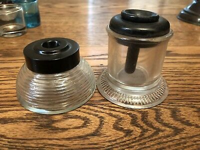 Antique Glass Inkwells-Set Of 2