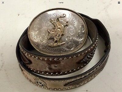 Vintage Western Montana Silversmith Bull Riding Rodeo Buckle and Nocona Belt 34