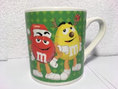 M&M's Green Ceramic Christmas Coffee Mug Red With Santa Hat Yellow w/ Antlers