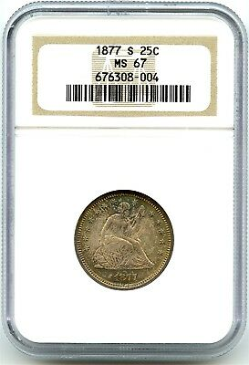 1877-S Silver Seated Liberty Quarter, NGC MS-67, Killer Toning, Awesome Coin!