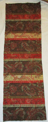 Antique Hand Woven Wool Paisley Multicolor Runner Fabric Scarf