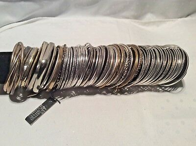 Job Lot of 100 Silver & Gold Coloured slim Asian Dance Slave Bangles Bracelets