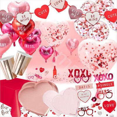 Valentines Day Party Decorations Tableware Supplies Heart Balloons Love Garland