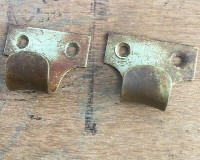 Pair Antique Brass Window Sash Pulls Finger Lifts Handles Pre-owned