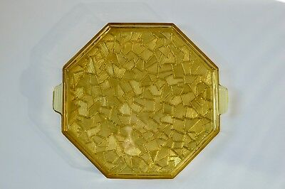 Plateau en Verre Jaune Art Deco _  Art Deco Yellow Glass Tray