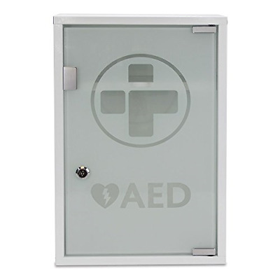 Reliance Medical White Alarmed AED Metal Wall Cabinet with Glass Door