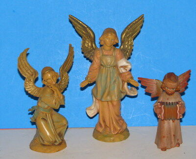 Three ANGELS/2 are Depose Fontanini from Italy & one Angel is Wooden/Excellent