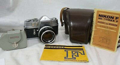 NIKKOREX F 35mm CAMERA W/NIKKOR S AUTO f/1.4 50mm LENS, LEATHER CASE, INST BOOK