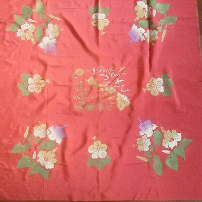 Vintage Hawaiian State Tourist Map Tablecloth  Hibiscus border