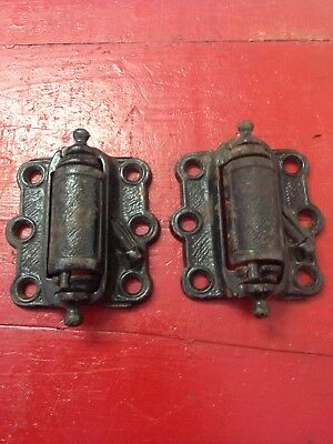 Antique Pair Victorian Cast Iron Spring Loaded Screen Door Hinges Nice Vintage