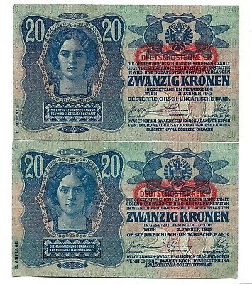 Austria (P53a) 20 Kronen 1919 x 2 Consecutive Serial Numbers XF+
