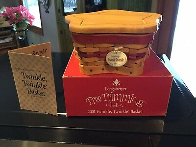 Longaberger 2001 RED Twinkle Twinkle Tree Trimming Basket and Woodcraft Lid