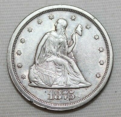 Antique 1875-S Silver Seated FULL Liberty US Coin 20 Cents EXCELLENT Detail