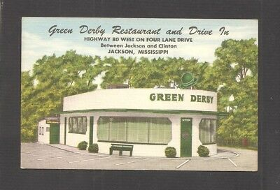 LINEN POSTCARD:  GREEN DERBY DRIVE-IN RESTAURANT - JACKSON, MISSISSIPPI - Unused