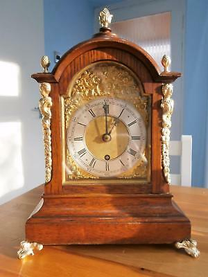Oak & Brass Fusee Bracket Clock in Good Working Order