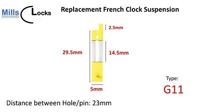 Brass French Clock Pendulum Suspension Spring. (22.5mm x 9.5mm x 5.5mm)  (G11)