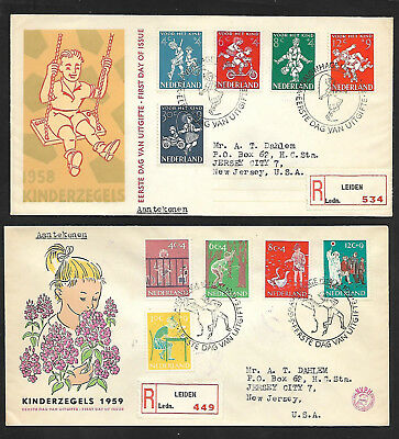 Netherlands 1958 & 1959 First Day Covers-- Complete Sets-Kinderzegels--Very Nice