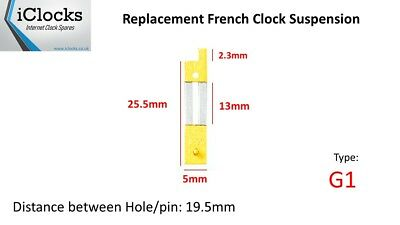 Brass French Clock Pendulum Suspension Spring. (25.5mm x 13mm x 5mm)  (Type G1)