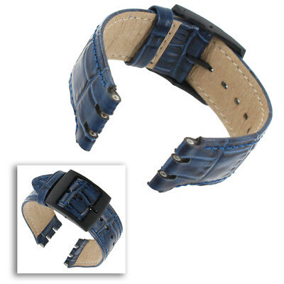 Hirsch 17mm Watch Band   Gents Dundee Crocodile Grain Blue Navy Leather Fits Swa