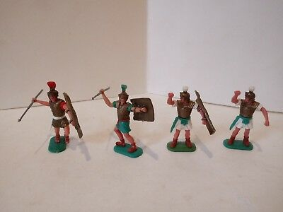 4 Vintage 1:32 Timpo Roman Soldiers,1 Quite Rare,2 Need Weapons/Shields,Good!