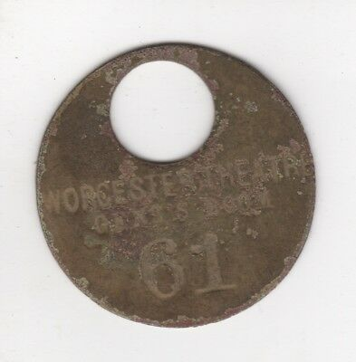 Worcester Theatre Gent's Room Key Fob Metal Detector Find circa mid 1900s Mass