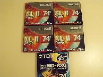 5 x MINI DISCS 4 X MAXELL XL-II 1 X TDK BLANK MUSIC  BRAND NEW SEALED