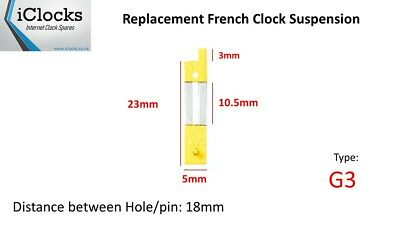 Brass French Clock Pendulum Suspension Spring. (23mm x 10.5mm x 5mm)  (Type G3)