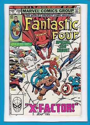 """Fantastic Four #250_Jan 1983_Vf+_Spider-Man_""""x-Factor""""_Double-Sized Issue!"""