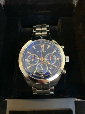 Bulova 96B285 Men's Quartz Blue Dial Silver-Tone Chronograph Watch-
