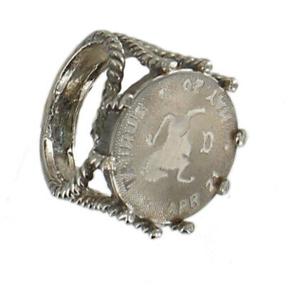 Taurus Zodiac Sign Astrology Coin Antiqued Silver Tone Cocktail Ring Sz 8