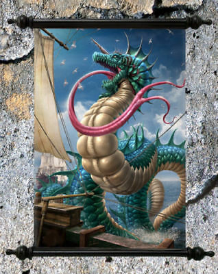 "Stunning Fantasy Dragon Canvas Wall Scroll "" Dragon Leviathon """