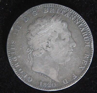 RARE 1820 British Silver Crown - Lettered Edge LX Type