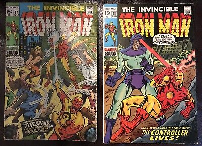 The Invincible Iron Man lot of 2 Marvel comics issues #27 - #28 Jul-Aug 1970